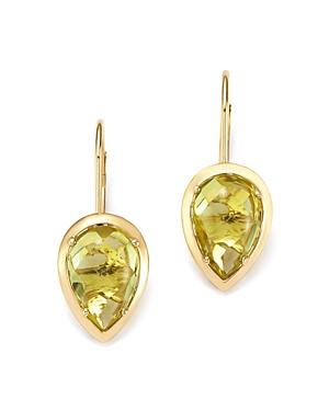 Teardrop Lemon Quartz Drop Earrings in 14K Yellow Gold - 100% Exclusive