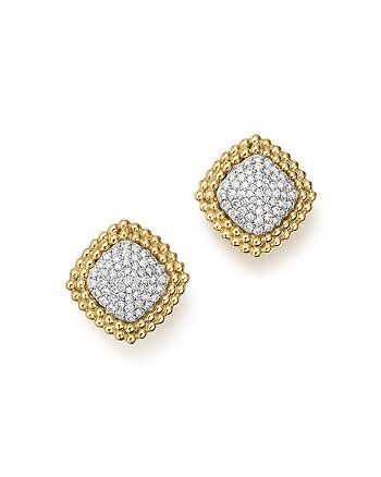 Bloomingdale's - Diamond Pavé Square Stud Earrings in 14K Yellow and White Gold, 1.0 ct. t.w.- 100% Exclusive