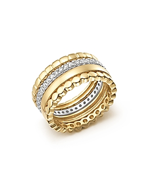 Diamond Stackable 4 Band Ring Set in 14K White and Yellow Gold, .70 ct. t.w. - 100% Exclusive