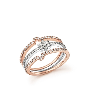 Diamond Micro Pave Stackable 3 Ring Set in 14K White and Rose Gold, .54 ct. t.w. - 100% Exclusive