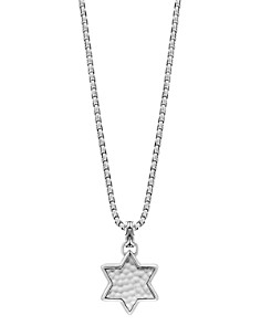 """JOHN HARDY - Sterling Silver Classic Chain Star of David Hammered Pendant Necklace, 22"""""""