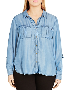 City Chic Miss Military Chambray Shirt