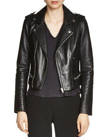$Maje Basalt Leather Biker Jacket - Bloomingdale's