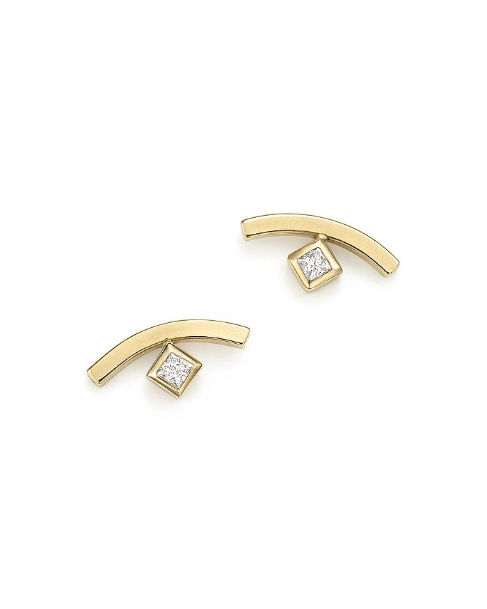 3edb1681b Zoë Chicco - 14K Yellow Gold Curved Bar Earrings with Bezel Set Diamonds