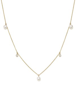 """Zoë Chicco - 14K Yellow Gold Necklace with Freshwater Cultured Pearls and Diamonds, 16"""""""