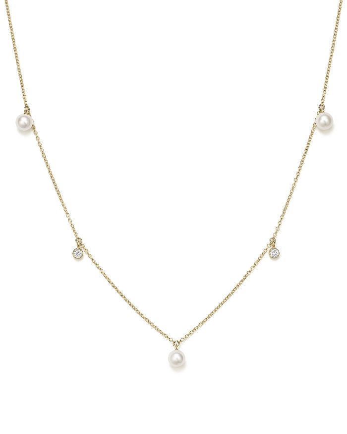 Zoë Chicco - 14K Yellow Gold Necklace with Freshwater Cultured Pearls and Diamonds, 16""