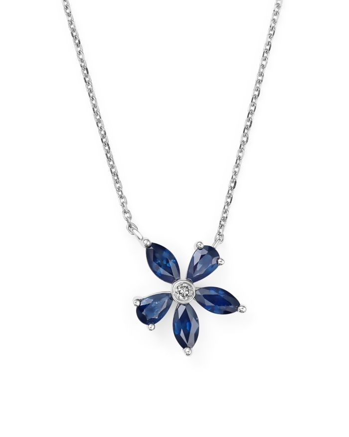 """Bloomingdale's Blue Sapphire and Diamond Flower Pendant Necklace in 14K White Gold, 16"""" - 100% Exclusive  
