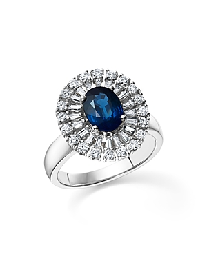 Sapphire Oval and Diamond Statement Ring in 14K White Gold - 100% Exclusive