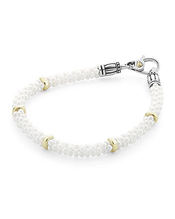 LAGOS - 18K Gold and Sterling Silver White Caviar Bracelet