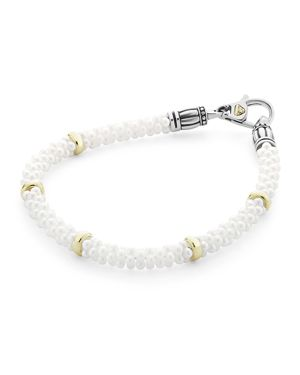 Lagos 18K Gold and Sterling Silver White Caviar Bracelet