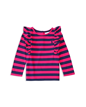 Ralph Lauren Childrenswear Infant Girls' Stretch Striped Ruffled Tee - Sizes 6-24 Months