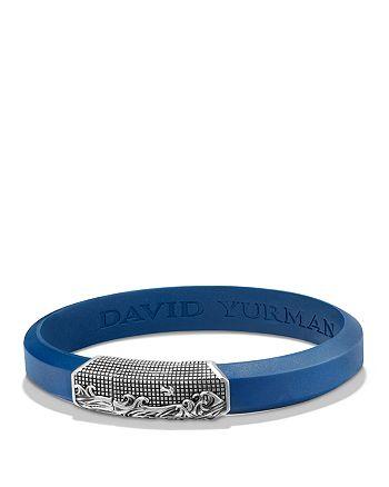 David Yurman - Waves Blue Rubber ID Bracelet in Sterling Silver