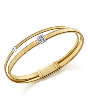 Marco Bicego 18K Yellow Gold Masai Two Strand Crossover Diamond Bracelet