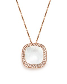 Roberto Coin - 18K Rose Gold Carnaby Street Diamond and Mother-Of-Pearl Necklace, 16""