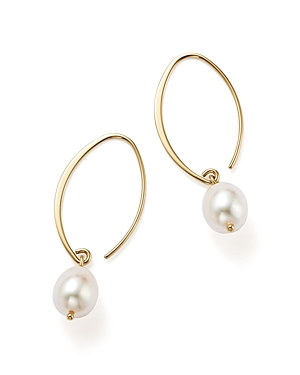 Simple Sweep Earrings with Cultured Freshwater Pearl Drops in 14K Yellow Gold