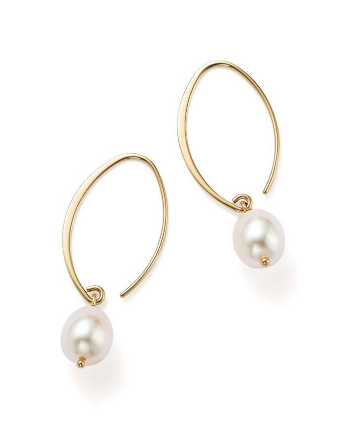 Bloomingdale's Simple Sweep Earrings with Cultured Freshwater Pearl Drops in 14K Yellow Gold, 8mm     Bloomingdale's