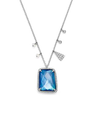 Meira T 14K White Gold Blue Sapphire and Moonstone Doublet Pendant Necklace with Diamonds, 16