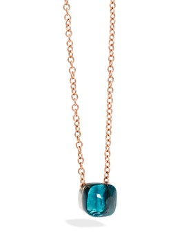 Pomellato - Nudo Necklace in 18K Rose and White Gold with London Blue Topaz