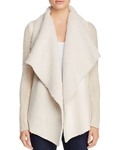 Bagatelle - Draped Faux-Shearling Sweater Jacket