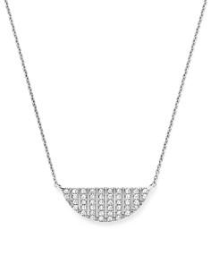 """Dana Rebecca Designs - 14K White Gold Jeb Half Moon Necklace with Diamonds, 16"""""""