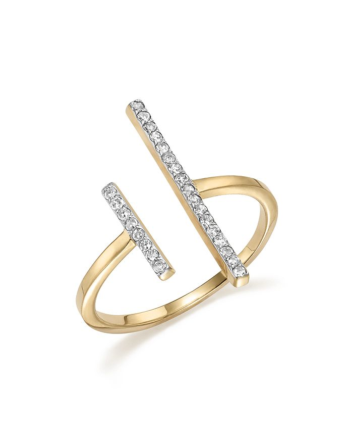 MATEO - 14K Yellow Gold Double Bar Ring with Diamonds