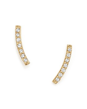 Zoë Chicco - 14K Yellow Gold Small Curved Bar Stud Earrings with Pavé Diamonds