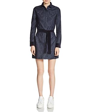 Maje Rallex Velvet-Trimmed Denim Dress