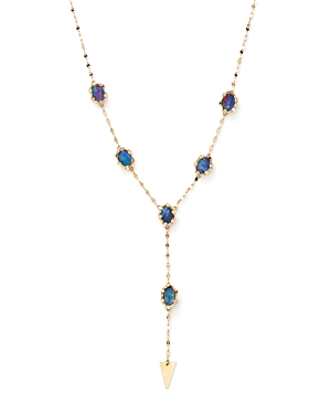 Lana Jewelry 14K Yellow Gold Frosted Spike Boulder Opal Necklace, 18
