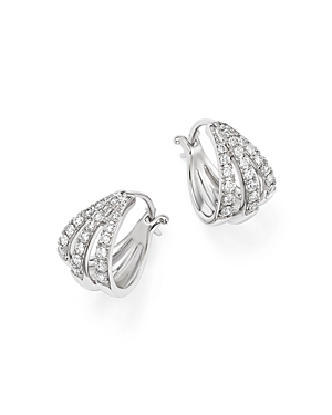 Diamond Three Row Huggie Hoop Earrings in 14K White Gold, .35 ct. t.w. - 100% Exclusive
