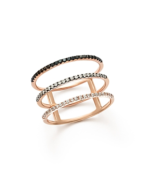 White and Black Diamond Micro Pave Three-Row Band in 14K Rose Gold - 100% Exclusive