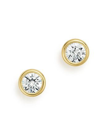 Bloomingdale's - Diamond Bezel Stud Earrings in 14K Yellow Gold,  .50 ct. t.w. - 100% Exclusive