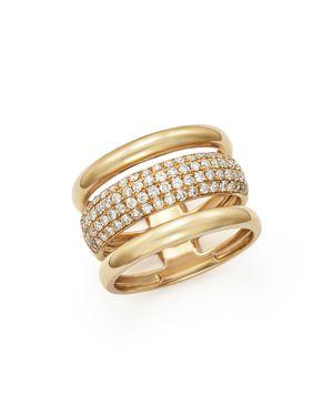 Diamond Three Row Band in 14K Yellow Gold, .75 ct. t.w.