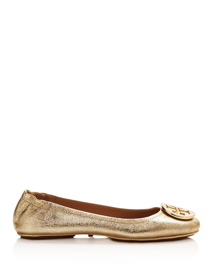 d9e7f4223c52 Tory Burch - Women s Minnie Metallic Leather Travel Ballet Flats