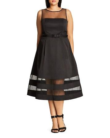 $City Chic Mesh Mystique A-Line Dress - Bloomingdale's