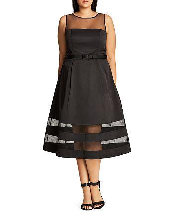 City Chic Plus - Mesh Mystique A-Line Dress