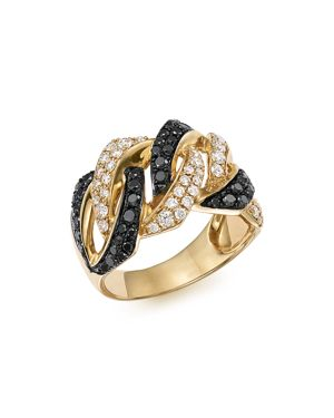 White and Black Braided Diamond Band in 14K Yellow Gold, 1.10 ct. t.w. - 100% Exclusive