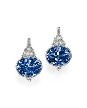Judith Ripka Sterling Silver La Petite Oval Earrings with Lab-Created Blue Corundum and White Sapphire 1814510
