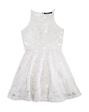 Miss Behave Girls' Metallic Accented Floral Lace Dress - Big Kid