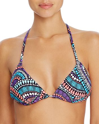 Laundry by Shelli Segal - Batik Chic Tasseled Triangle Bikini Top