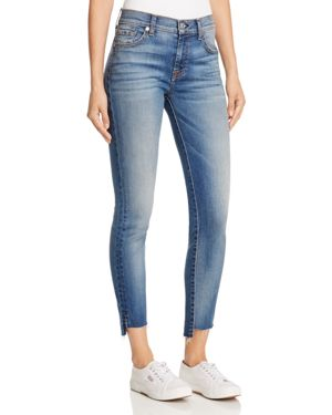 7 For All Mankind Step Hem Skinny Ankle Jeans in Destroyed Authentic Light