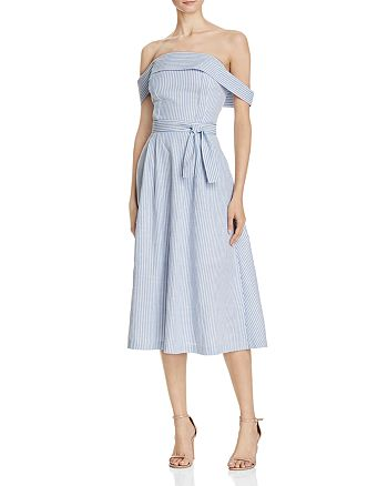 JOA - Striped Poplin Off-the-Shoulder Dress - 100% Exclusive