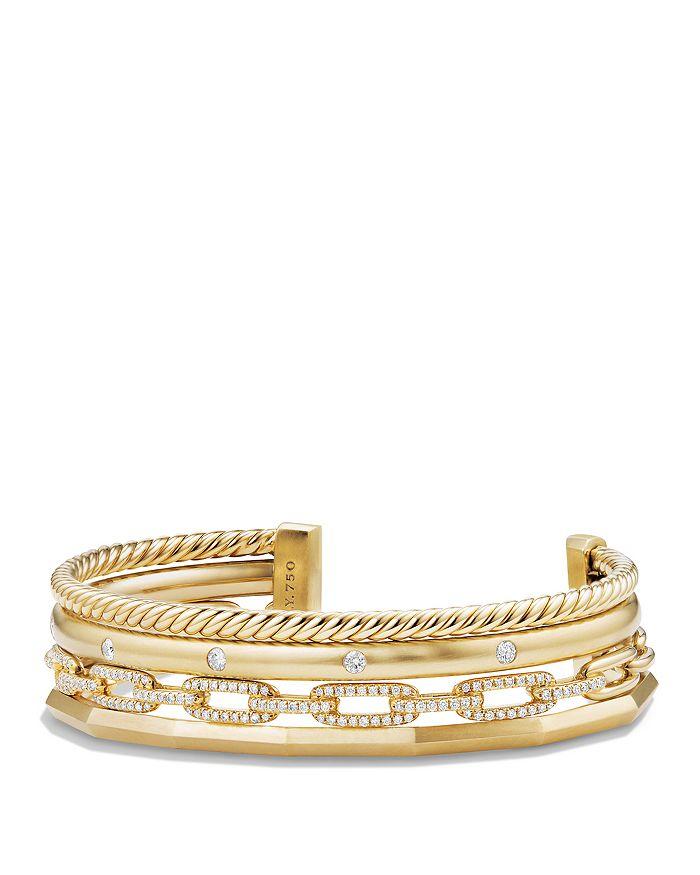 David Yurman - Stax Medium Cuff Bracelet with Diamonds in 18K Gold