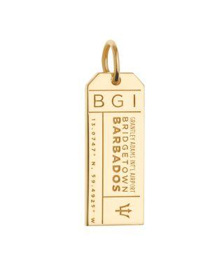 JET SET CANDY Bgi Barbados Luggage Tag Charm in Gold