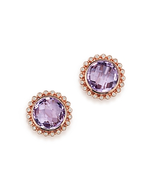 Rose Amethyst and Diamond Earrings in 14K Rose Gold - 100% Exclusive