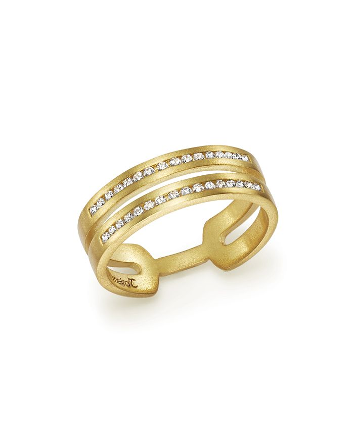 Meira T - 14K Yellow Gold Double Row Open Band Ring with Diamonds