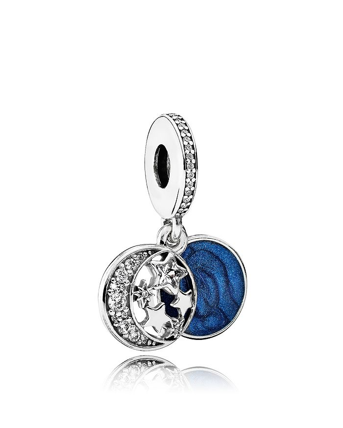 Pandora - Moments Collection Sterling Silver, Blue Enamel & Cubic Zirconia Vintage Night Dangle Charm