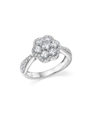 DIAMOND CLUSTER FLOWER RING IN 14K WHITE GOLD, 1.0 CT. T.W.