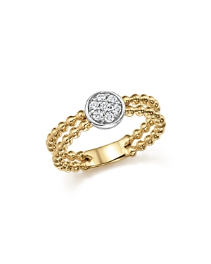 Diamond Double Row Beaded Band in 14K White and Yellow Gold, .15 ct. t.w. - 100% Exclusive