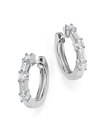 Bloomingdale's - Diamond Round and Baguette Small Hoop Earrings in 14K White Gold, .50 ct. t.w. - 100% Exclusive