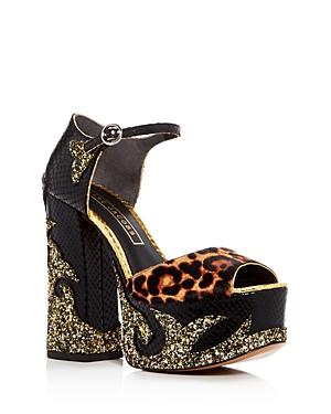 Marc Jacobs Adriana Embellished Snake-Embossed Platform Peep Toe Pumps